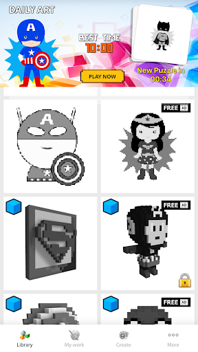 3D Superhero Color by Number Pixel Art Drawing ss 1